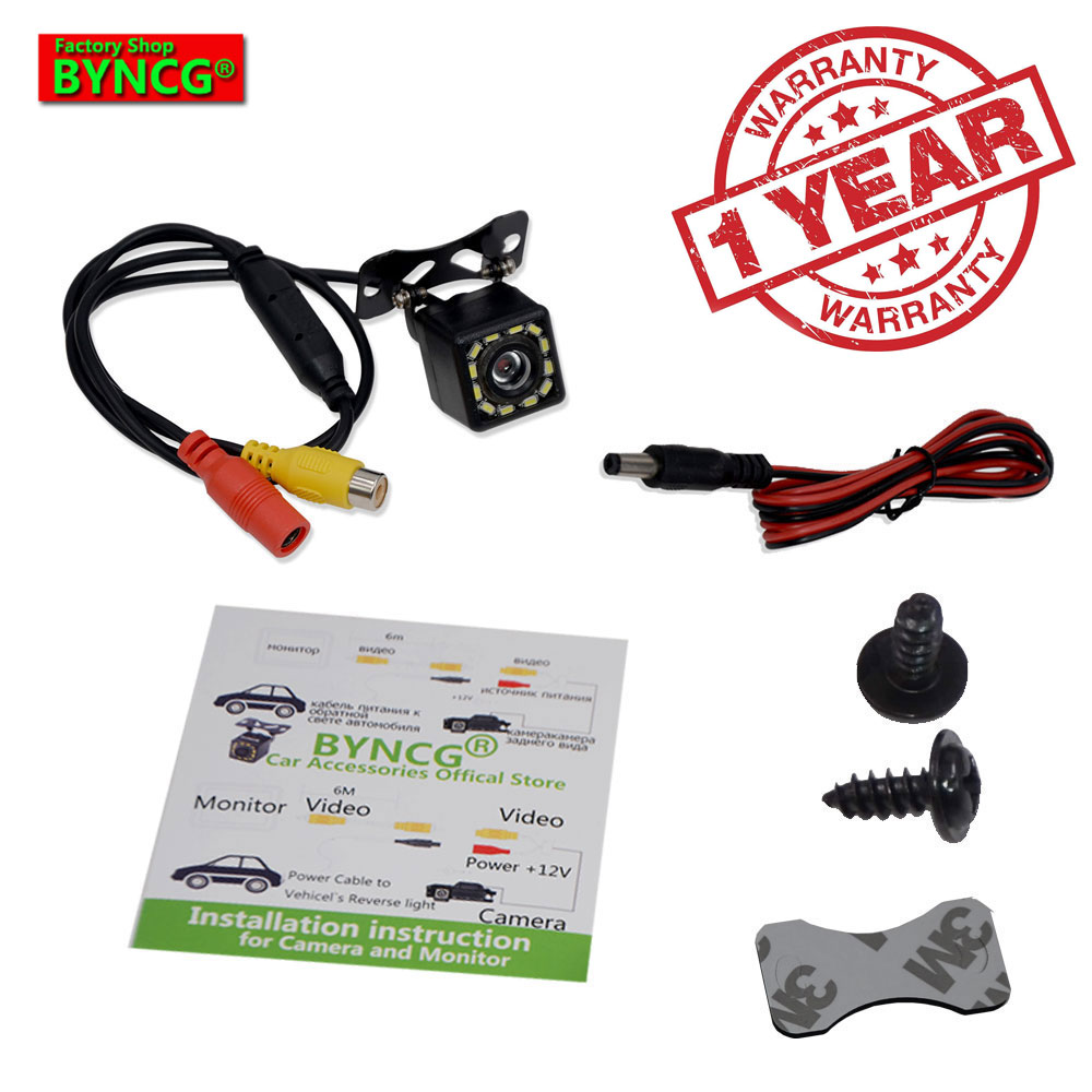 BYNCG WG12 Gratis Pengiriman 12LED Rear View Camera Waterproof 12 Led Night Vision Mobil Belakang CCD Kamera Reverse Kamera