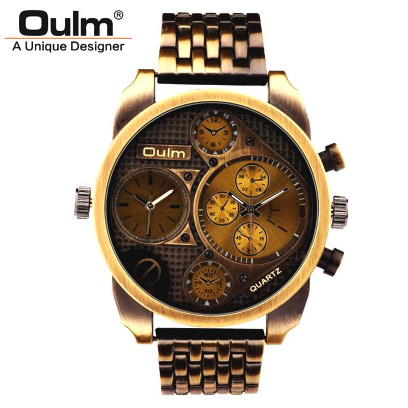 Men Full Steel Watch Oulm Luxury Brand Big Size Antique Male Casual Watches New Fashion Military Wristwatch Relogio Masculino oulm men watch multi movt numbers straps hours marks big dial full steel band men quartz military wristwatch relogio masculino