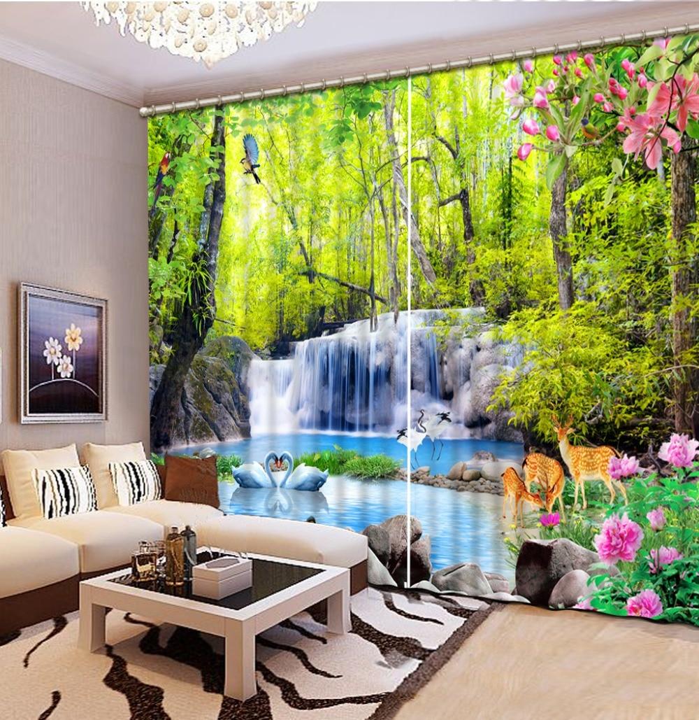 Waterfall Curtains Beautiful Photo Fashion Customized 3D Curtains