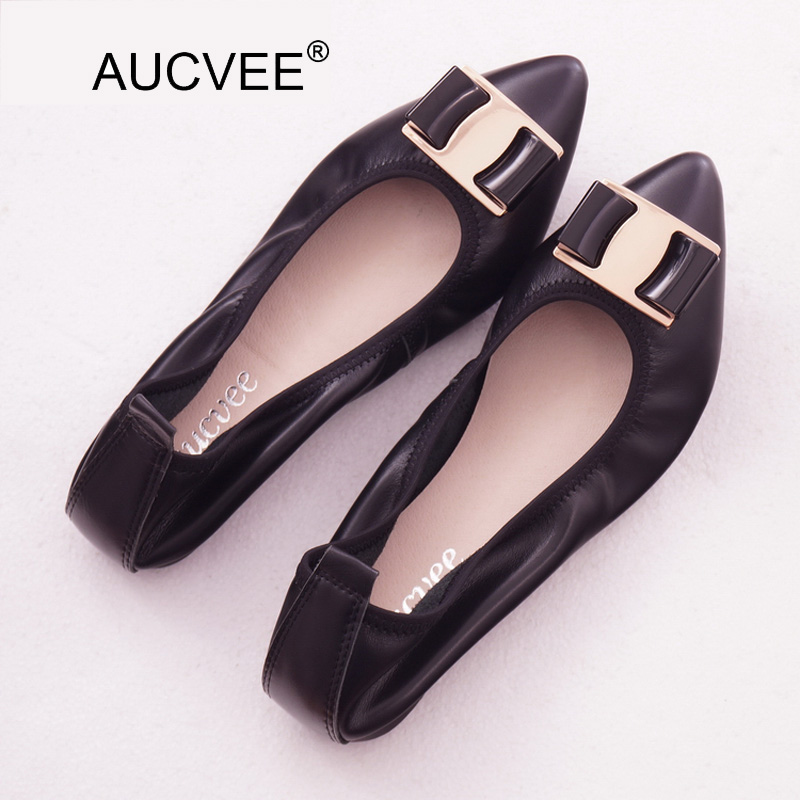 Lady Ballet Flat Shoes Spring 2018 Fashion Moccasins Women Shoes Pointed Toe Pregnant Women Loafers Genuine Leather Female Shoes spring and summer women shoes pointed toe bow flat shoes patent leather pregnant shoes fashion female small big size