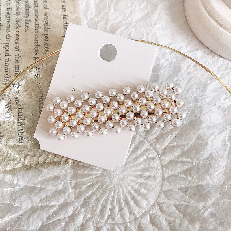 New Elegant Geometric Rhinestone Pearl Hairpin For Women And Girls Hair Clips Headband Headwear Barrettes Hair Accessories in Hair Jewelry from Jewelry Accessories
