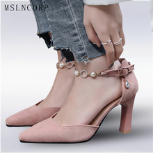 Plus Size 34-47 Summer Hot Sale Women Sandals Fashion Pearl Chain High Heels Shoes Woman Pointed Toe Footwear Party Pumps Shoes