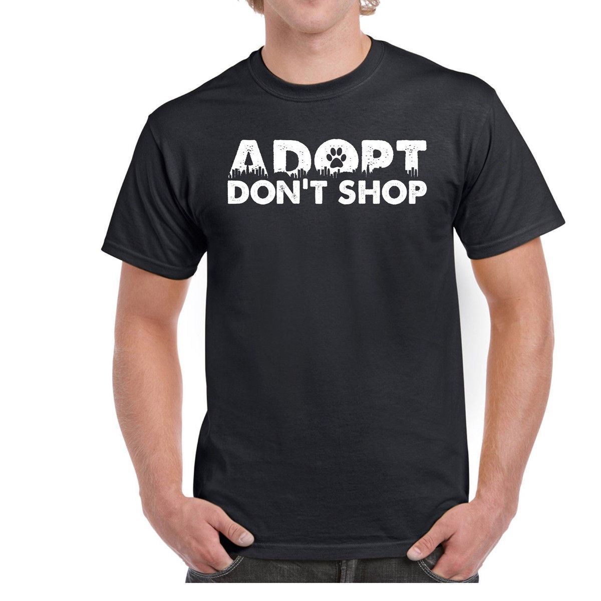 Adopt Dont Shop Mens Tee Shirt 100% Cotton T-shirt Print Tee Men Short Sleeve Clothing T Shirt Short Sleeves 100% Cotton