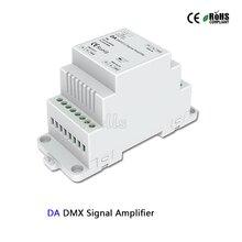 DA DMX512 Signal Amplifier controller DC5-24V DIN Rail led DMX Amplifier 1CH input 2ch output for led strip DMX signal extender ltech dmx 150 24 f1m1 150w dmx512 rdm led driver ac100 240v input max 24v 6 25a 150w output dmx led driver push dim