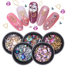1 Box 3D Nail Art Decorations Flat Back Nail Rhinestones Purple Gold Mixed Size Metal Rivet Beads Studs Nail Accessories цены