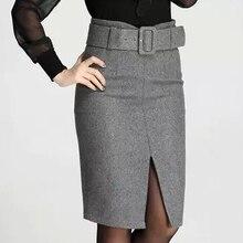 2018 Autumn Winter Retro High Quality Woolen Skirt Fashion Warm Knee-Length Women Skirts Elastic With Belt