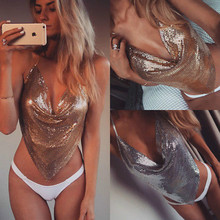 Sexy Women Sequin Swimwear Bra Tops Vest Halter Padded Tanks Tops Robe Leotard Hot Backless Baby Doll Sexy Lingerie