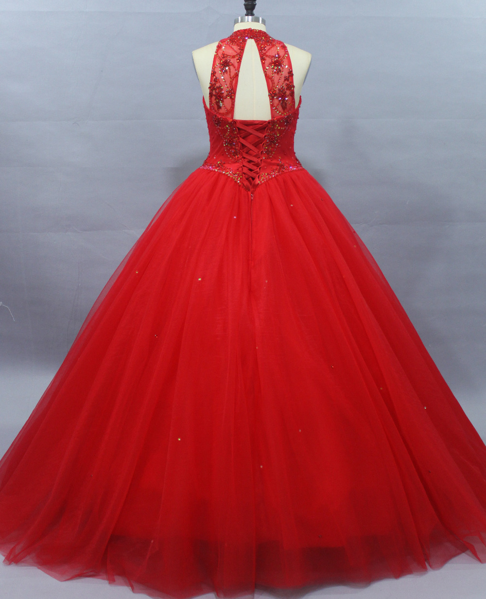 Elegant Princess red Ball Gown Quinceanera Dress with jacket Halter ...