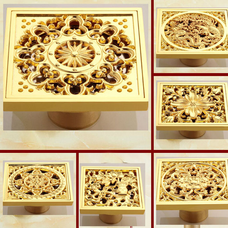 Free Shipping Creative Golden Square Floor Drain Brass 4 Bathroom Shower Waste Grate Drain