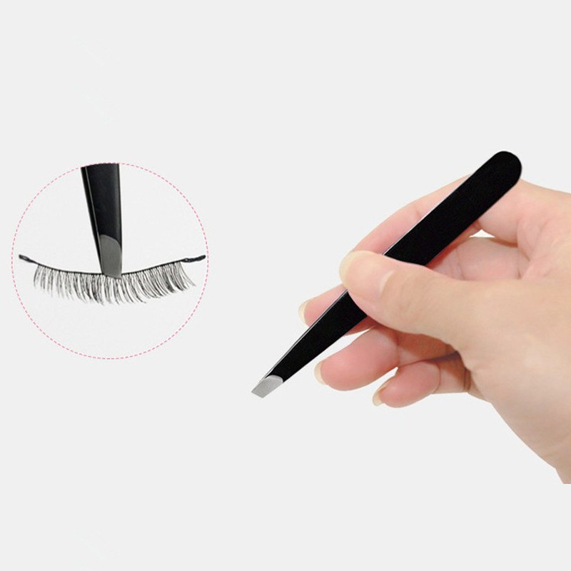 JS 1/2PC Black Eyebrow Tweezers Eye Brow Clips Hair Beauty Slanted Puller Stainless Steel Makeup Tool Slant Tip Hair Removal