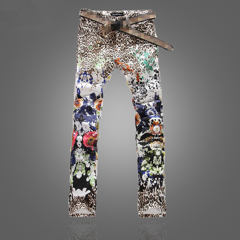 Men Leopard Jeans With Floral Print 2017 New Fashion Male Leopard Printed Denim Pants Slim Fit Free Shipping men s cowboy jeans fashion blue jeans pant men plus sizes regular slim fit denim jean pants male high quality brand jeans