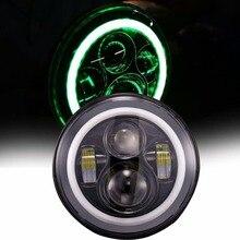 7 дюймов Круглые СВЕТОДИОДНЫЕ Фары Daymaker с Зеленым Halo Кольцо Угол Глаз DRL Дальнего света Для Harley Davidson Мотоциклов