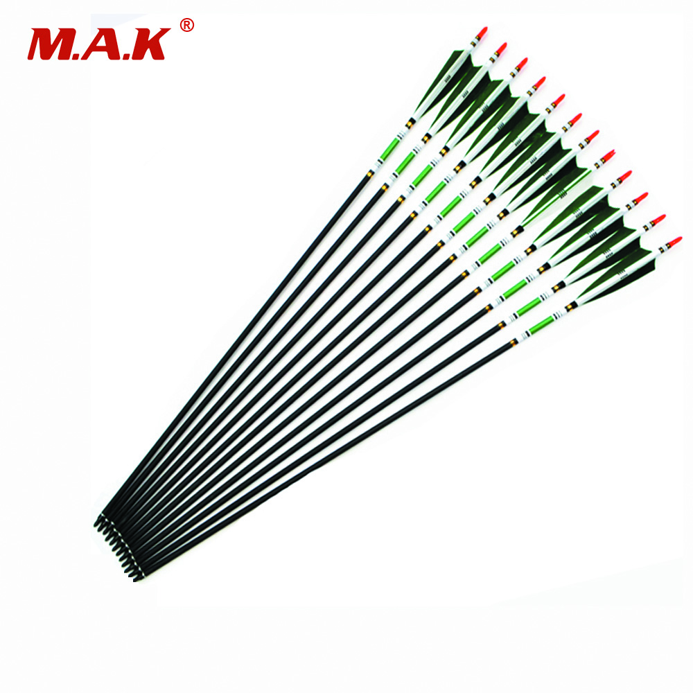 12pcs/lot 5 Color 31.5' (80cm) Spine 500 Carbon Arrow Changeable Arrow HeadTurkey Feather OD7.6mm Archery For Parctice Hunting 12pcs lot high quality diy 32 spine 340 pure carbon arrow shaft for hunting