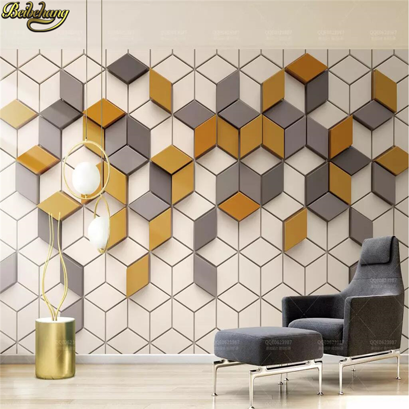 Beibehang Custom Yellow Mosaic Mural Living Room Office Wallpaper For Wall Papers Home Decor 3D Photo Wallpapers For Living Room