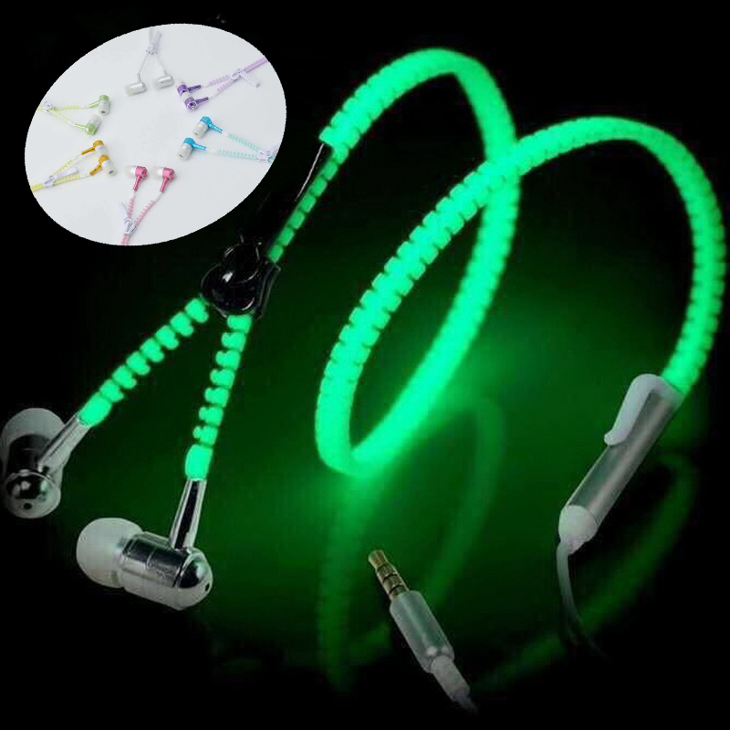 LED Luminous Earphones Glow In The Dark Headphones Metal Zipper Night Lighting Glowing In-Ear With Mic Handsfree For Phone S8 free shipping oktoberfest events 11 5ft led glow in the dark inflatable lighting can model for toys