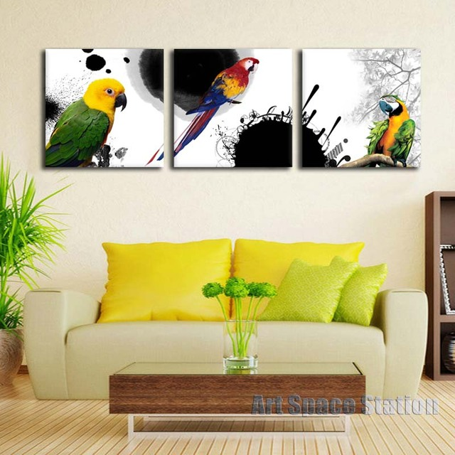 Abstract Oil Painting Printing on Canvas Color Parrot Animals Wall ...