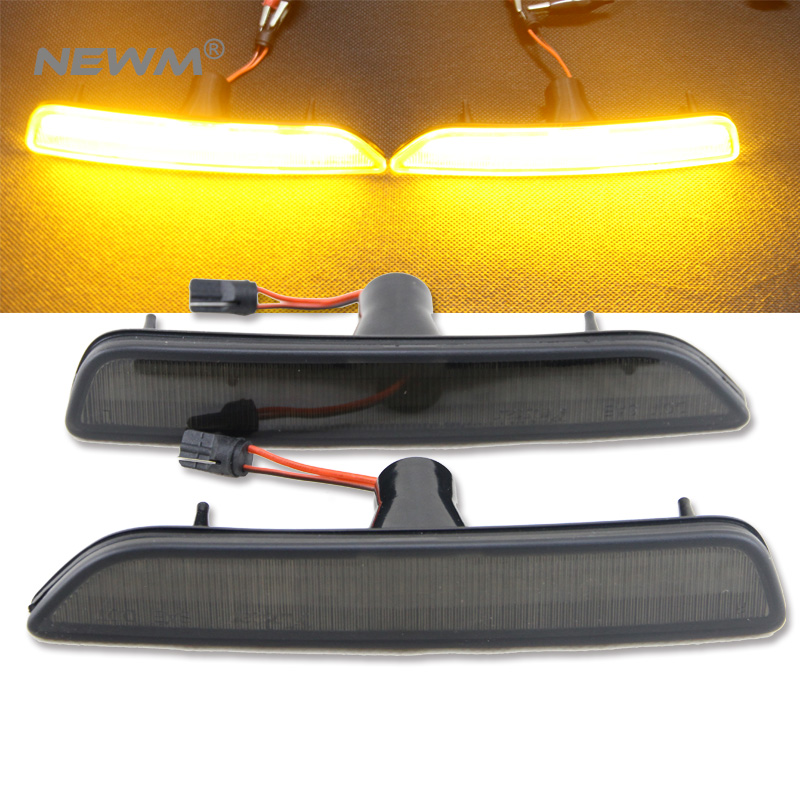 Smoked Lens Front Side Marker Lamps w/ Amber LED Lights For Ford Mustang 2010 2011 2012 2013 2014 4pcs 2 red 2 amber hd led fender bed side marker lights smoked lens for dodge ram