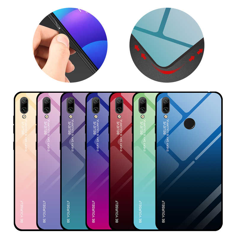 Gradient Tempered Glass Case For Huawei Honor 8X 20i 10i P30 Pro Mate20 Lite Y5 Y6 Y7 Prime 2018 Y9 P Smart Plus 2019 Back Cover