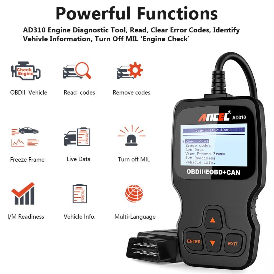 HTB1jnt7GQyWBuNjy0Fpq6yssXXar Ancel AD310 OBD2 Automotive Scanner OBD Car Diagnostic Tool in Russian Code Reader ODB2 Scanner OBDII OBD 2 ODB PK ELM327 v1.5