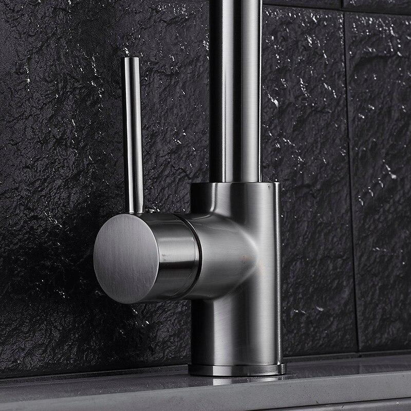 Robinet de cuisine évier de cuisine robinet mitigeur noir pivotant 360 degrés robinet d'eau 2 tuyau eau chaude et froide mélangeur OWO-N22-038 - 3