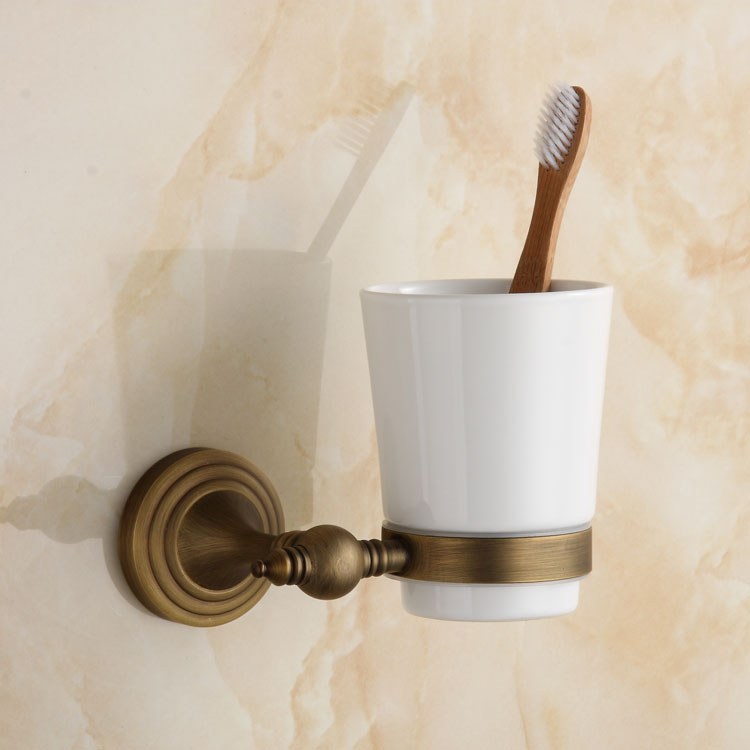 Luxury Brush Tumbler Ceramic Cup Holder Antique Bronze Single Toothbrush Holder Wall Mounted Ceramic Bathroom Accessories