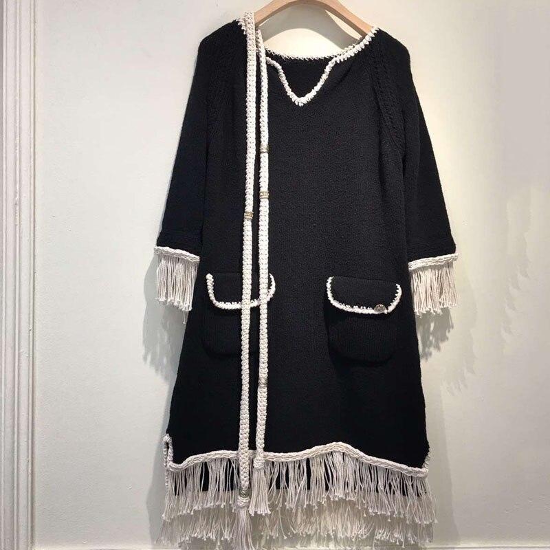 tassel dress women elegant 2018 spring long sleeve dress casual v neck knitted dress