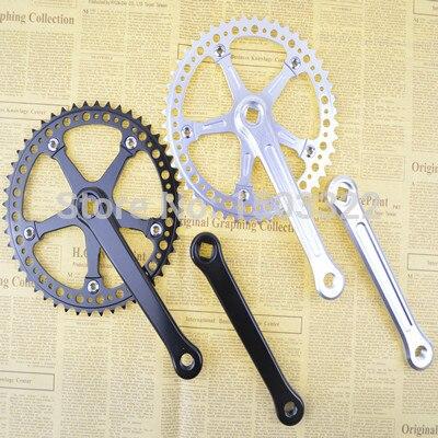 ФОТО Fixed Gear aluminium alloy cnc hollow out ultralight Bike Cycling Track 48t bcd130 crankset Cranks bicycle bottom bracket