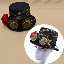 Fashion Accessories Fedoras Steampunk Retro Vintage Top Hat Gothic Wool Brozen Gears Victorian Hats With Gears Lace Wings Chain