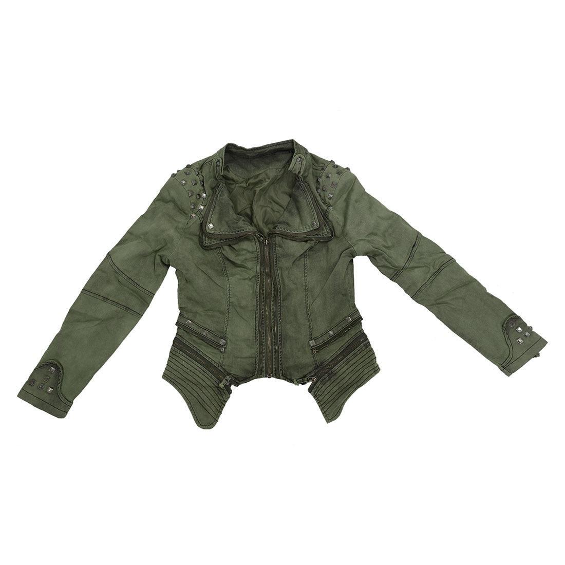 Women Denim Jacket Punk Style Rivet Studded Lapel Coat 4