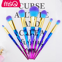 Makeup Brushes Set Professional 7pcs High Quality Duo Color Synthetic Hair Cosmetic Tool Glossy Aluminium MSQ