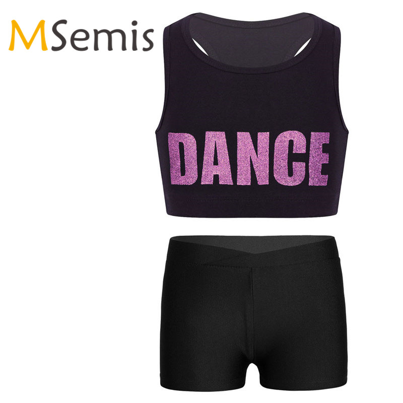 Kids Girls Gymnastic Swimsuit Dance Ballet Crop Top Racer Back Shiny Letters Printed Sports Bra Tops For Dance Stage Performance