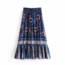 Drop Ship Fashion style elastic belt lace tassel women skirt Bohemian retro Broken flower summer beach casual