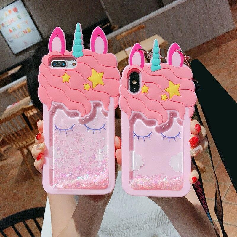 3D Cartoon Silicone Horse Quicksand Unicorn Soft Case For Xiaomi Note 5 Pro Cover mi 8 SE MI 5X 6X A1 A2 fundas redmi note 4X 5A