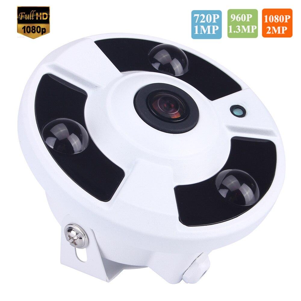 bilder für 720 P/960 P/1080 P Optional 5MP 1,7mm Objektiv Fischauge 3 stücke Array IR LED Nightvision Panorama Ip-kamera Onvif P2P Bewegungserkennung