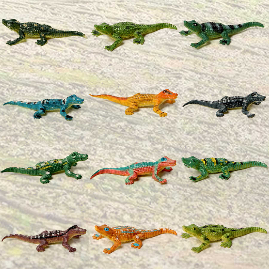 12PCS Mini Assorted Cores Brinquedos De Crocodilo Jacaré, Crocodilo Hunter Action Figure, Animal Crocodilo Brinquedo para Favores de Partido