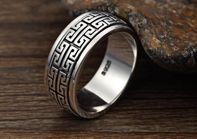 S925 argent sterling Thai argent double cercle peut être tourné lorsque les mots pour exécuter le couple large anneau