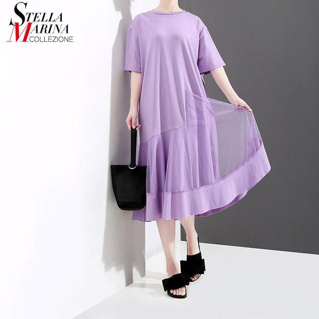 New 2018 Korean Style Women Summer Midi Purple Dress Short Sleeve Mesh Patchwork Girls Stylish Casual Street Wear Dresses 3601