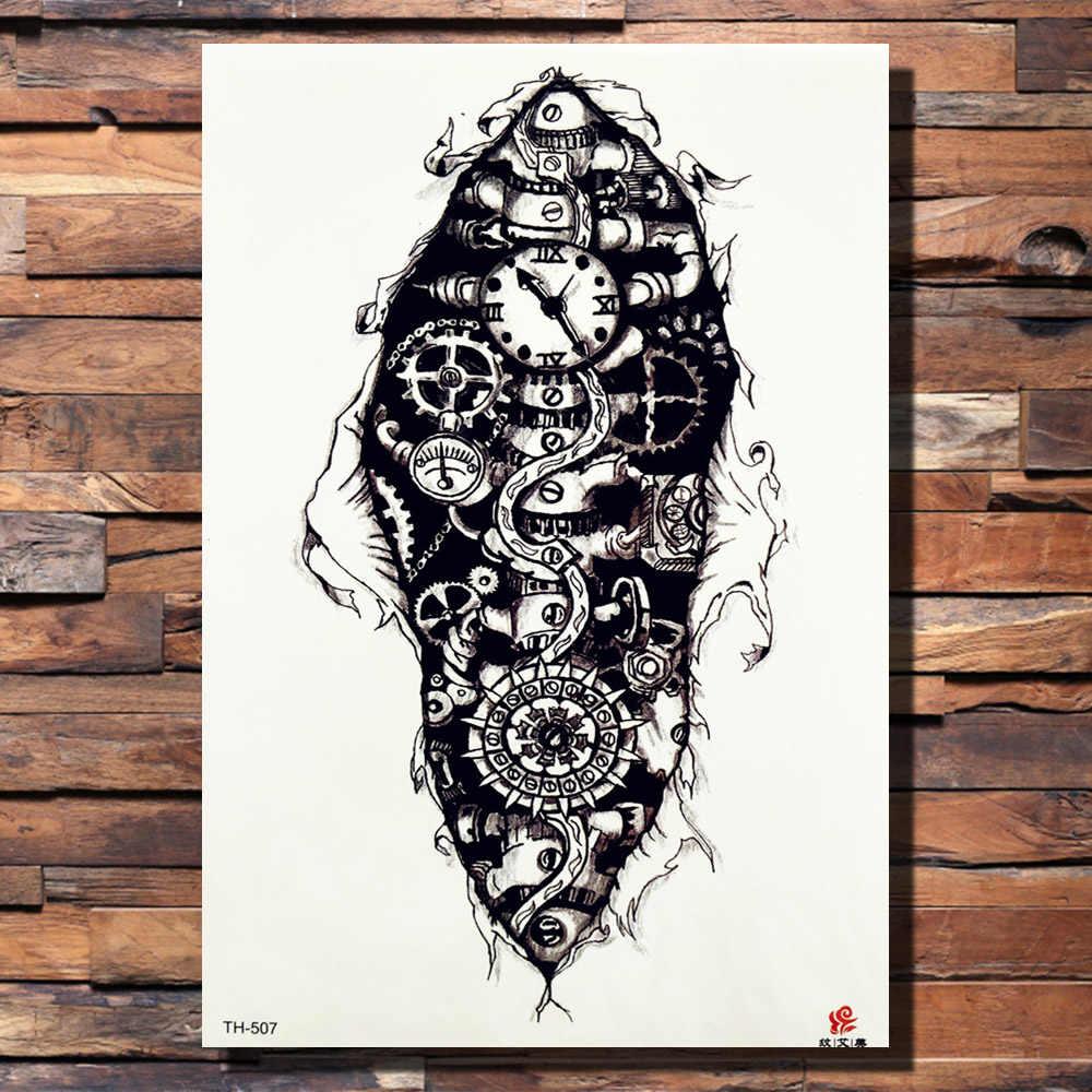 d4324a603 ... FANRUI Robot Arm Mechanical Gear Cool Temporary Tattoo Sticker Leopard  Men Body Art Black Tatoo Draw ...