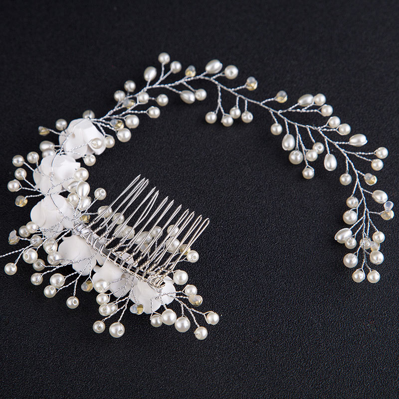 Handmade Silver Metal Hair Comb Clips Pearl Ceramics Flower Headband Bride Combs for Hair Women Bridal Wedding Hair Accessories