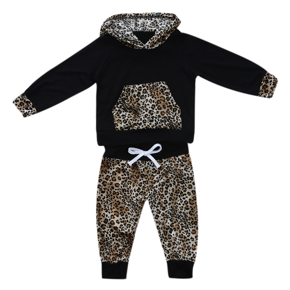 Fashional Style Leopard Newborn Clothes Baby Girls  Infant Hooded Sweatshirt Tops+Pants 2pcs Outfits Tracksuit Kids Clothing Set summer 2017 leopard baby girl clothes newborn infant baby girls romper bodysuit headband 2pcs outfits toddler kids clothing set