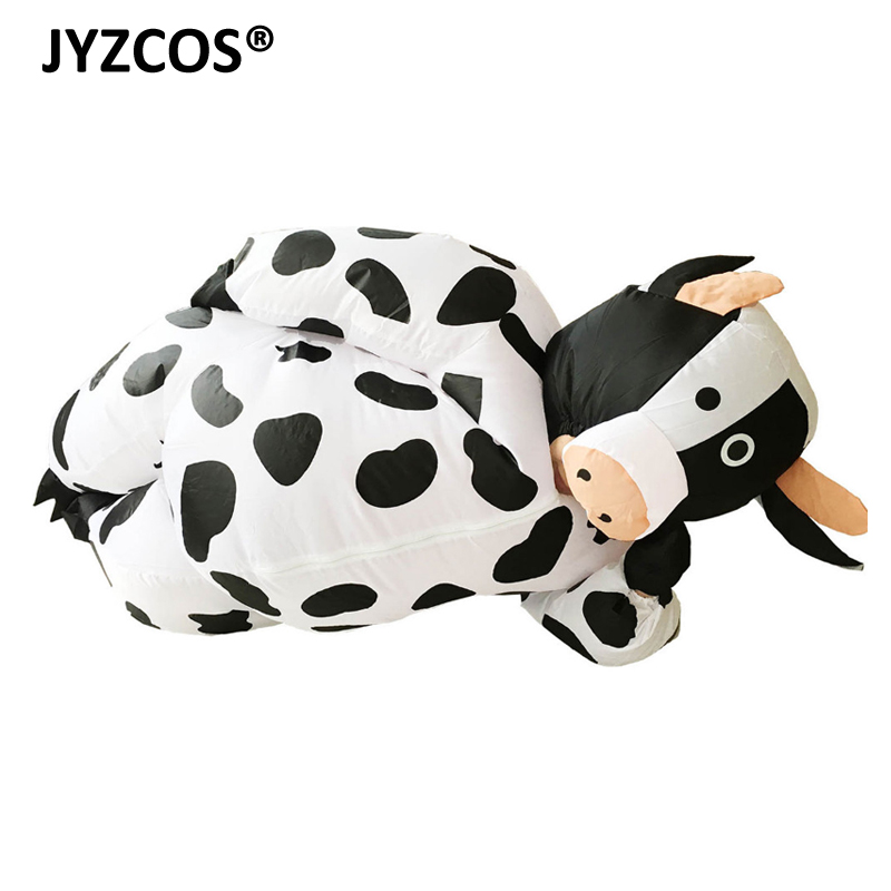 JYZCOS Inflatable Cow Costume for Women Adult Unisex Fancy Dress Air Blown Milk Cattle Carnival Party Christmas Halloween Purim