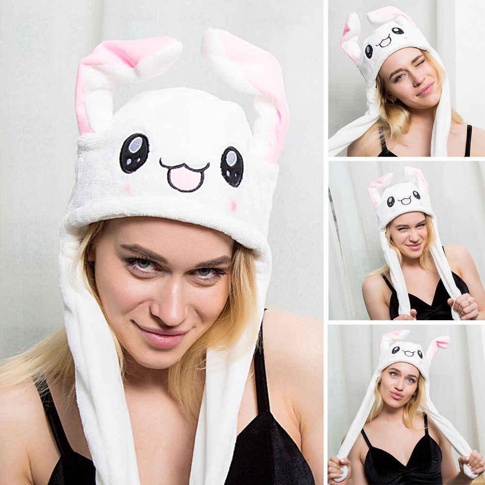 Abd sevimli tavşan şapka sallamak hareket kulaklar hayvan Cosplay kostüm oyuncak doğum günü gif