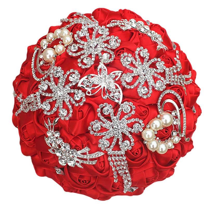 JaneVini Avorio Romantico Bouquet Da Sposa Cristalli Perle Di Lusso Spilla Bouquet Artificiale della Rosa del Raso Fiori Accessori Da Sposa