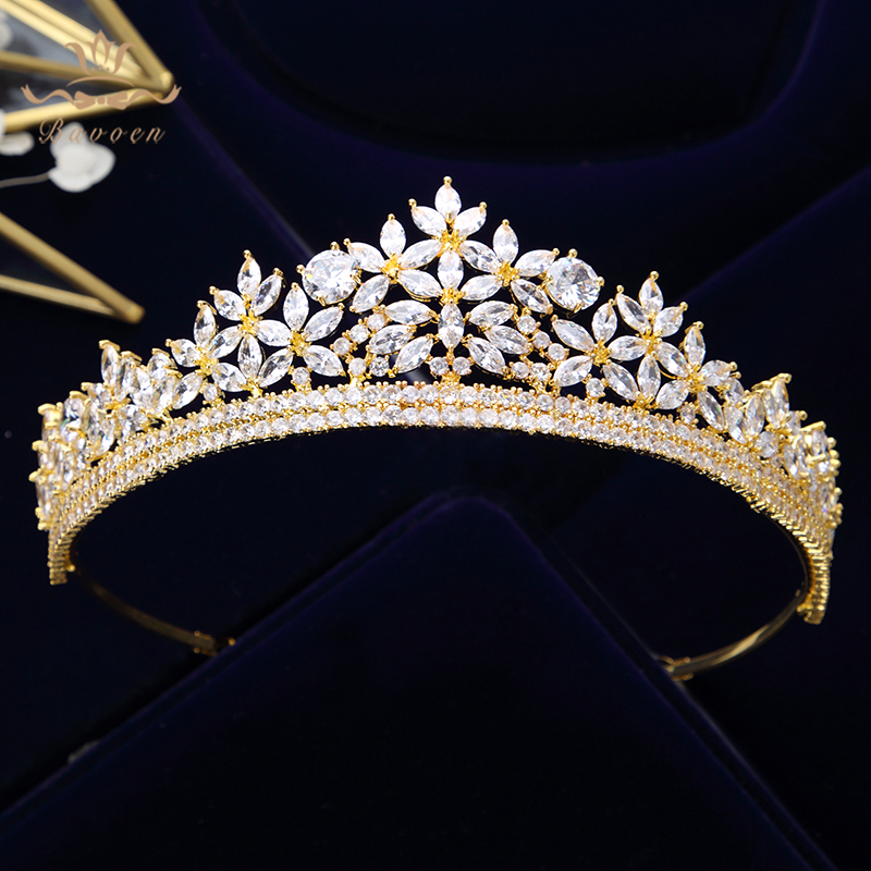 High Quality Royal Sparkling Zircon Brides Tiaras Crown Silver Crystal Bridal Hairbands Headpiece Wedding Hair Accessories