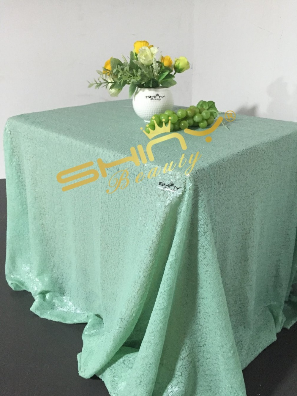 ShinyBeauty Popular Mint Green Sequin tablecloth On sale! Sequin Shimmer Tablecloth 90x156 RECTANGULAR-a