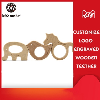 Let'S Make 50Pc Animal Wooden Teether Customizable Engraved Logo Natural Beech Wood Toy Teething  Montessori Wooden Baby Teether