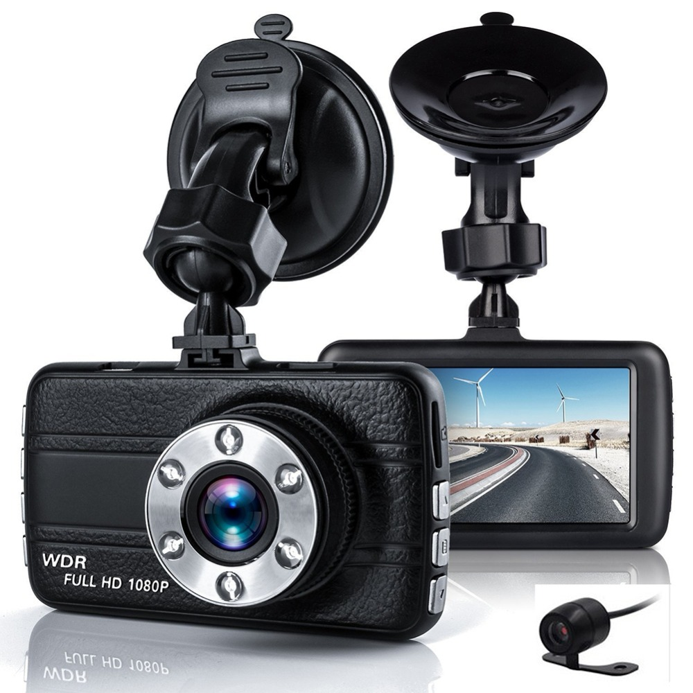 Dual <font><b>Car</b></font> <font><b>Camera</b></font> <font><b>DVR</b></font> 1080P <font><b>Car</b></font> Recorder 3 inch 150 Degree 6 Led Dashcam <font><b>Two</b></font> lens Dash Cam Dvrs Night Vision Auto Video Dashcam image