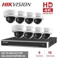 Hikvision 4 К POE NVR комплект 16-канальный 8 шт. HD 8MP PoE IP купола Камера H.265 с аудио Функция P2P NVR комплект видеонаблюдения Камера Системы