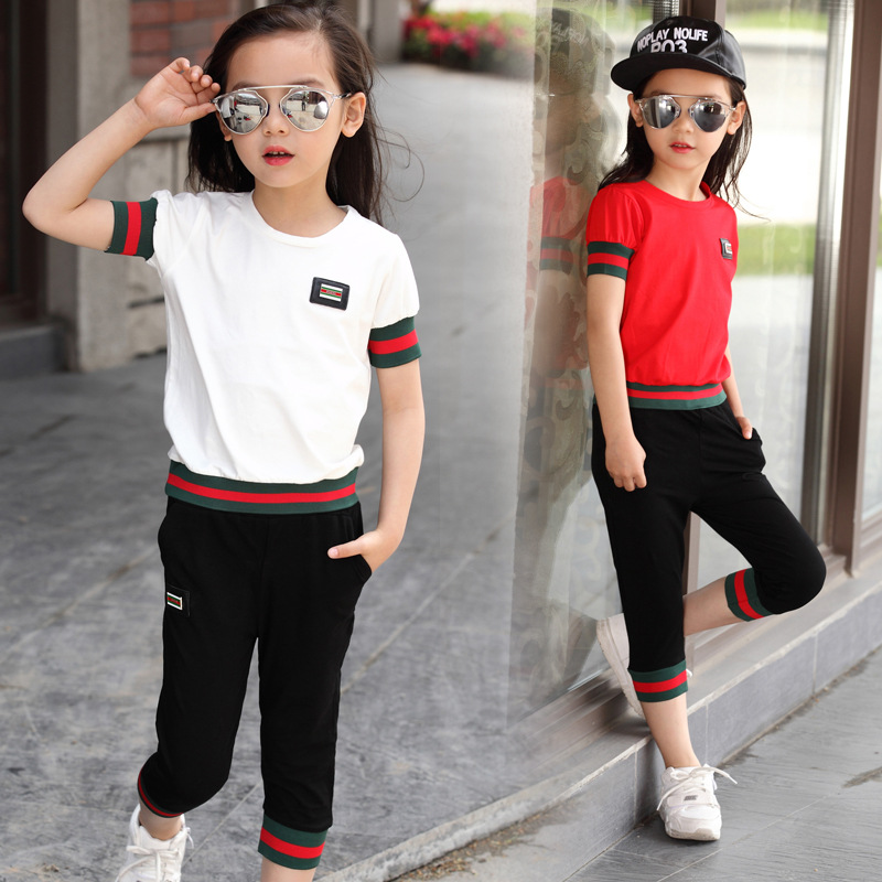 Children Clothing Sets 2017 Spring summer Big Girls Clothes Set short-Sleeved Dot T-shirt+Pant Outfit Kids Girls Sport Suit arts clothing embroidery short sleeved clothes adult children dragon costumes taijiquan spring and summer clothing