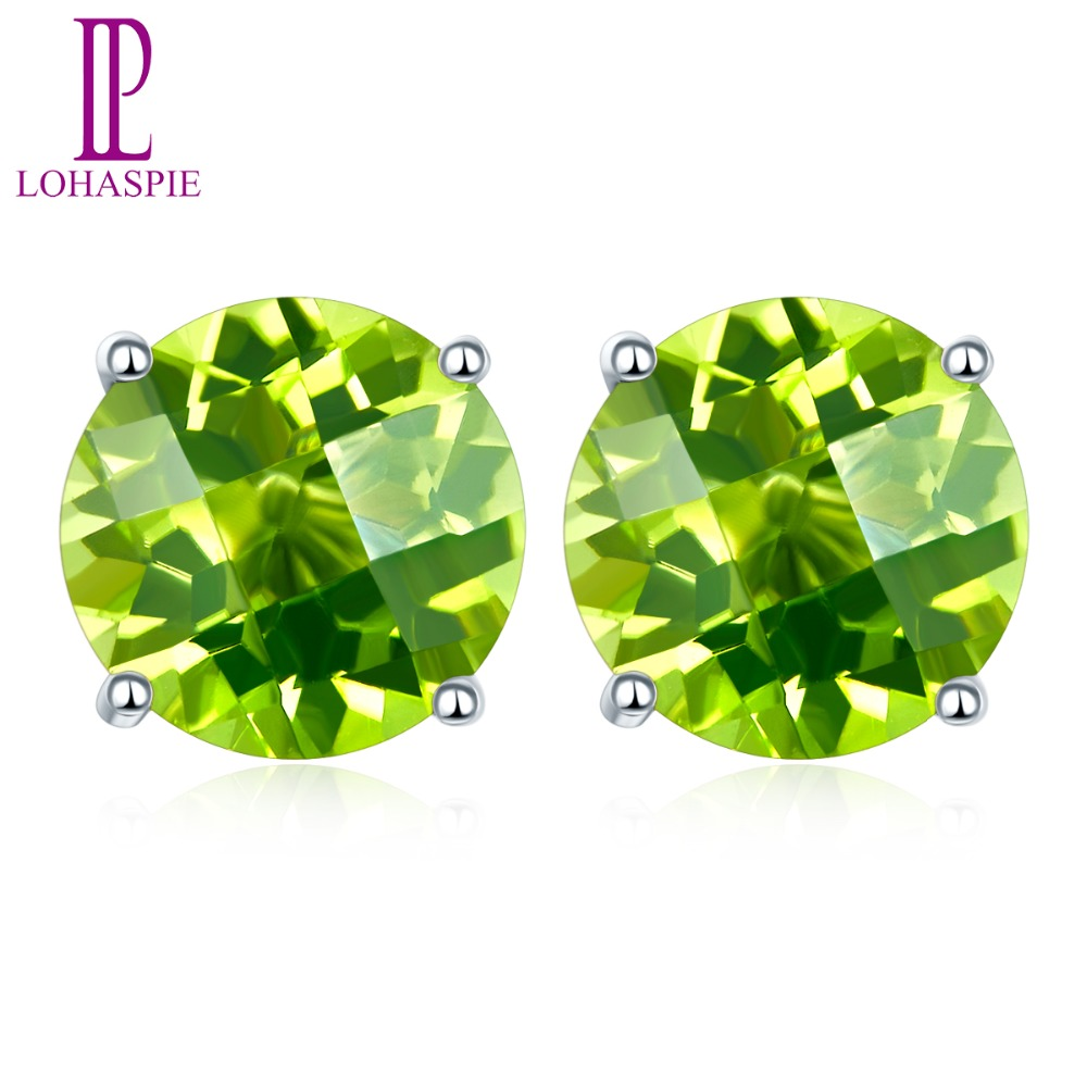 Lohaspie solid 14K white Gold 4mm/5mm/6mm Checkerboard Cutting Natural Peridot Stud Earrings New For Womens Fine JewelryLohaspie solid 14K white Gold 4mm/5mm/6mm Checkerboard Cutting Natural Peridot Stud Earrings New For Womens Fine Jewelry